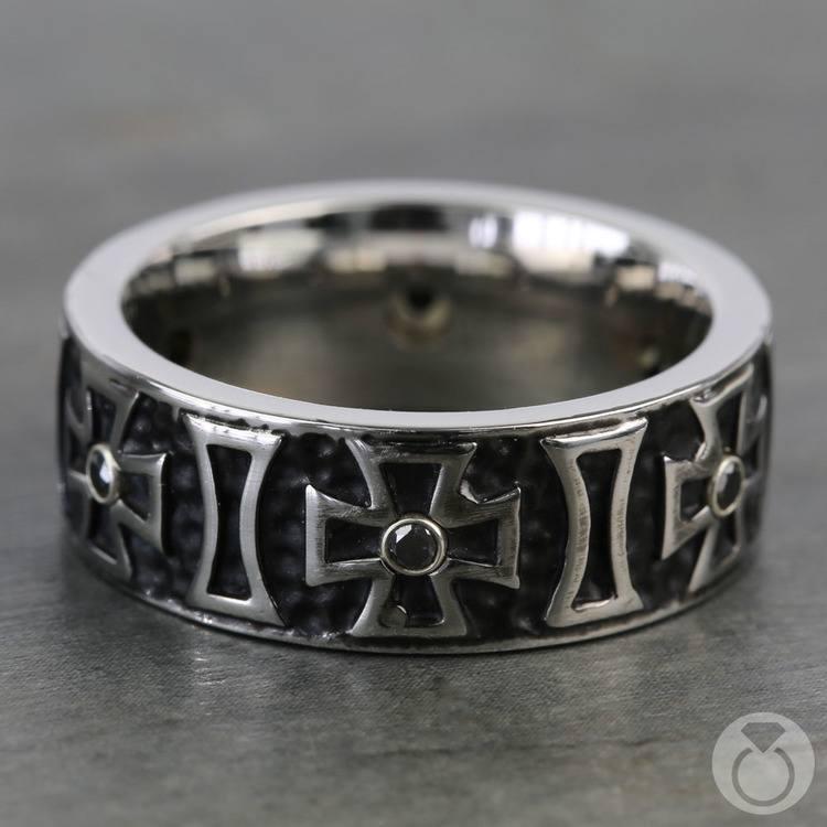 Cross Black Diamond Men's Wedding Ring in Cobalt (9mm) | 03