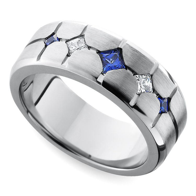 Cross-Cut Satin Sapphire and Diamond Mens Wedding Ring in Cobalt | 01