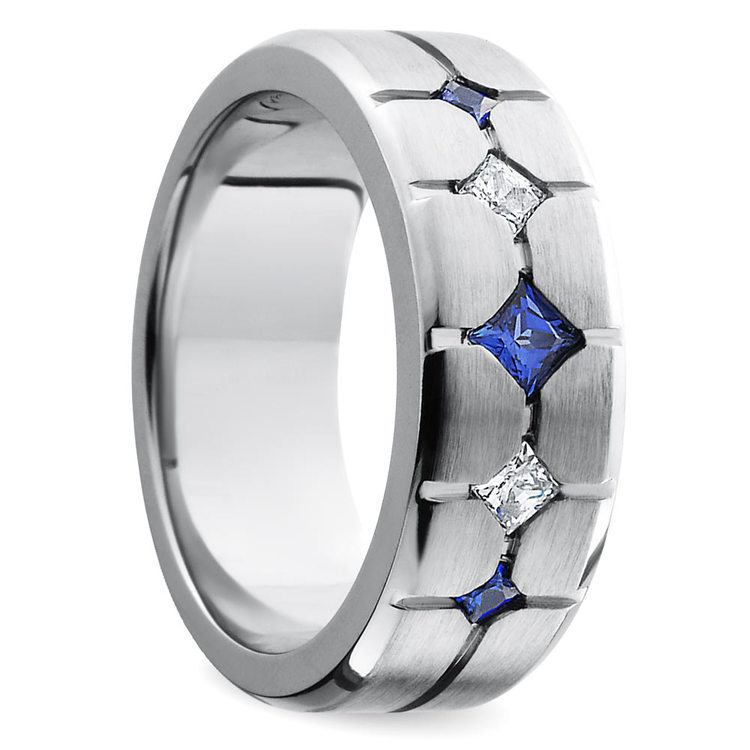 Cross-Cut Satin Sapphire and Diamond Mens Wedding Ring in Cobalt | 02