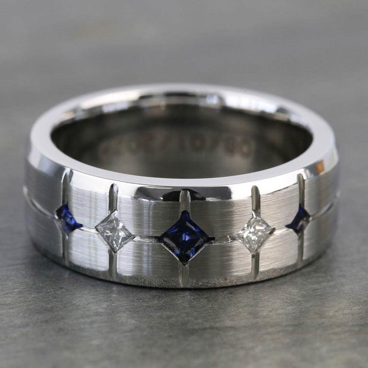 Cross-Cut Satin Sapphire and Diamond Mens Wedding Ring in Cobalt | 05