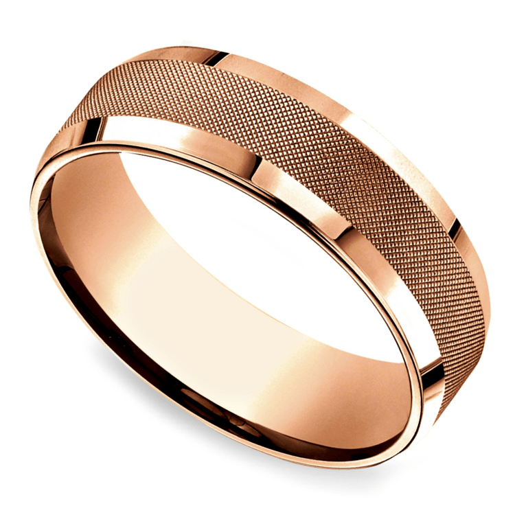 Cross Hatch Men's Wedding Ring in Rose Gold | 01