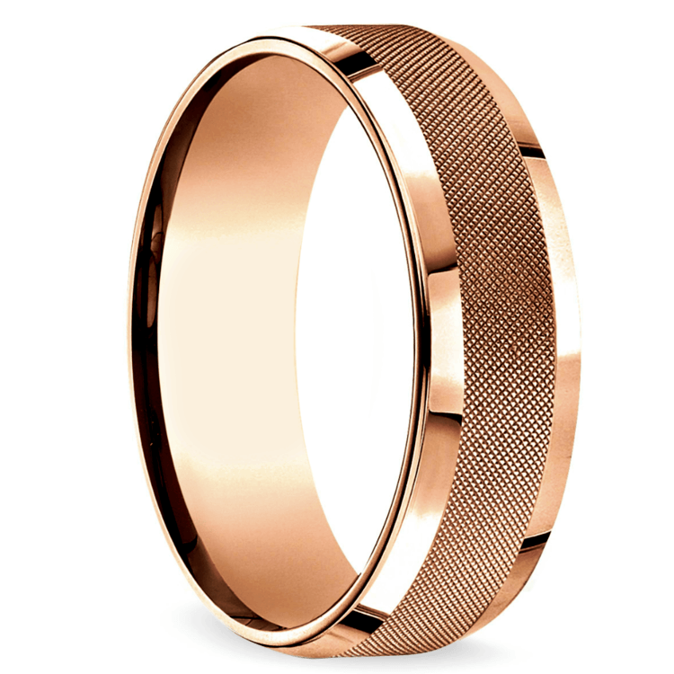 Cross Hatch Men's Wedding Ring in Rose Gold | 02