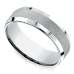 Cross Hatch Men's Wedding Ring in White Gold | Thumbnail 01