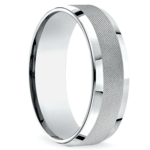 Cross Hatch Men's Wedding Ring in White Gold | Thumbnail 02