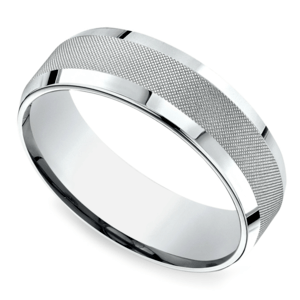 Cross Hatch Men's Wedding Ring in White Gold