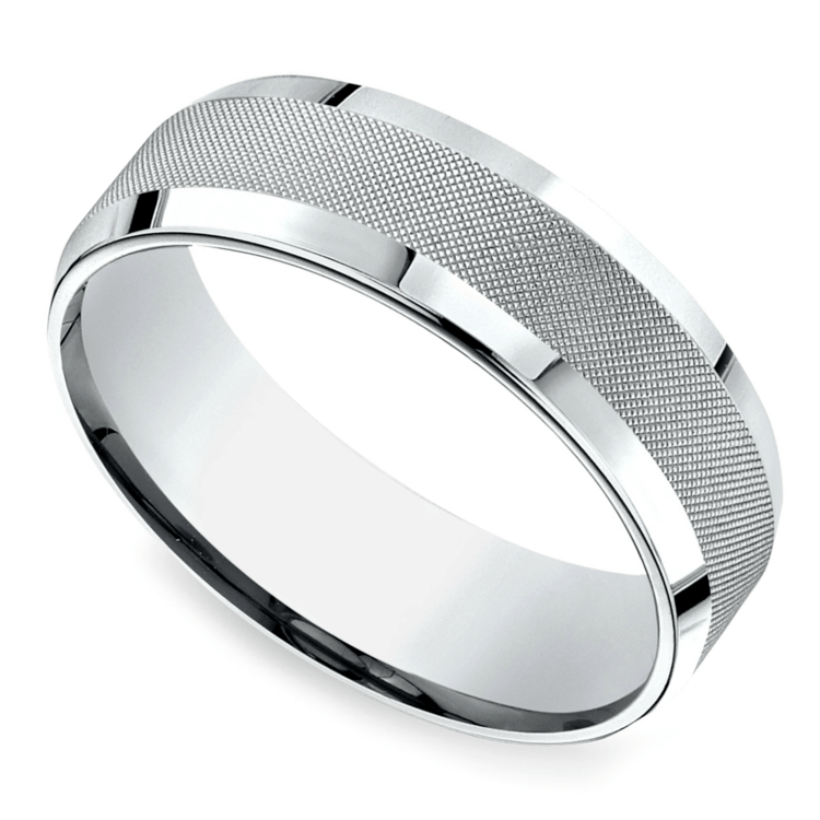 Cross Hatch Men's Wedding Ring in White Gold | 01