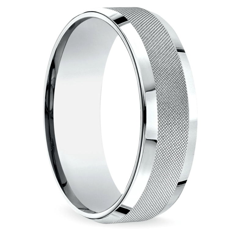 Cross Hatch Men's Wedding Ring in White Gold | 02