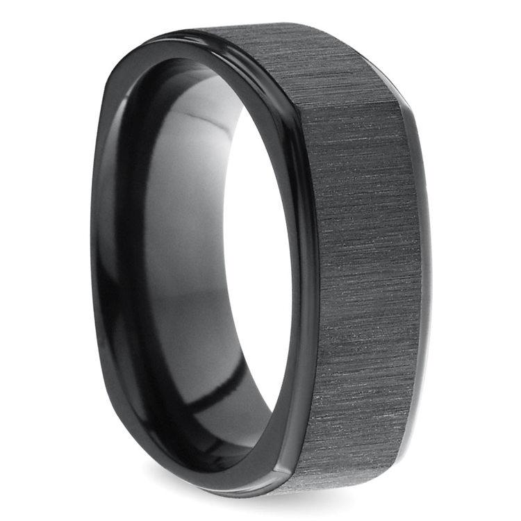 Cross Satin Square Men's Wedding Ring in Zirconium | 02