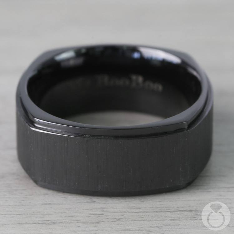 Cross Satin Square Men's Wedding Ring in Zirconium | 03