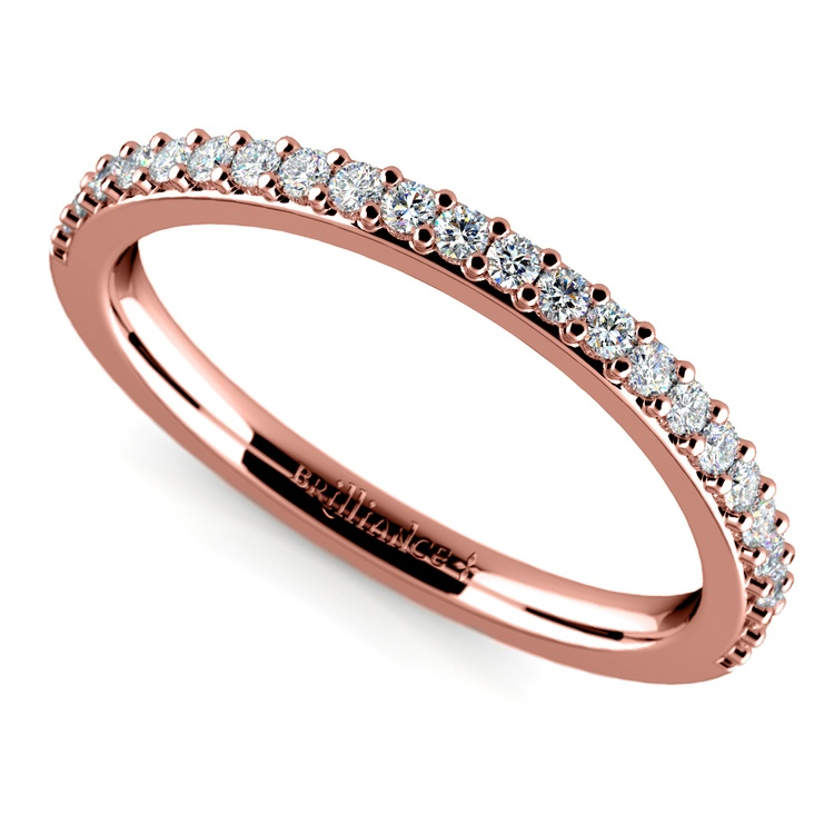 Curved Diamond Wedding Ring in Rose Gold | 01