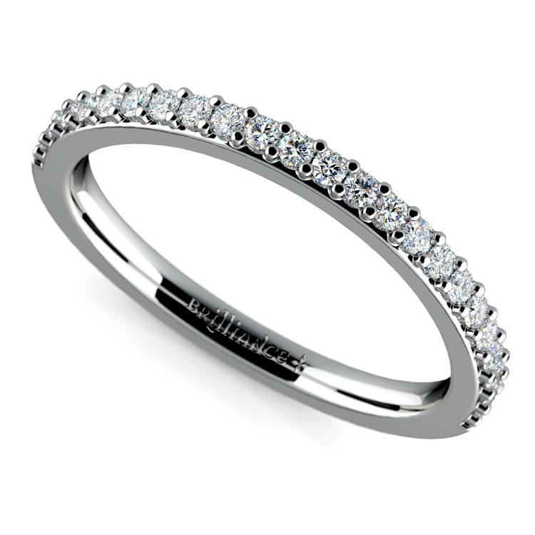Curved Diamond Wedding Ring in White Gold | 01