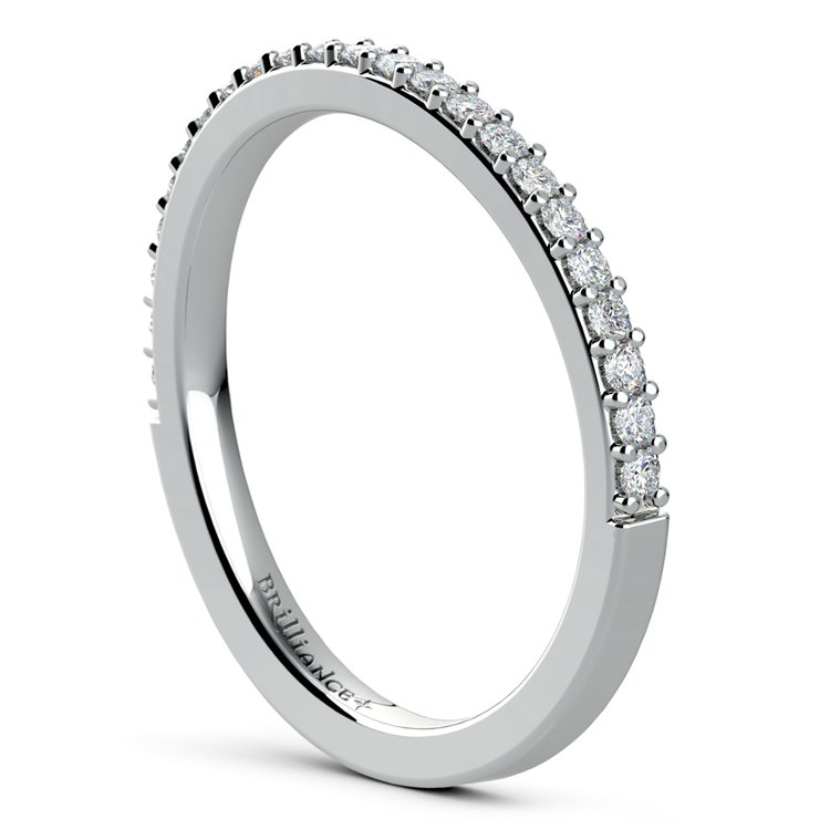 Curved Diamond Wedding Ring in White Gold | 04