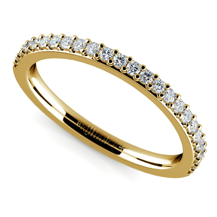 Curved Diamond Wedding Ring in Yellow Gold  | 01