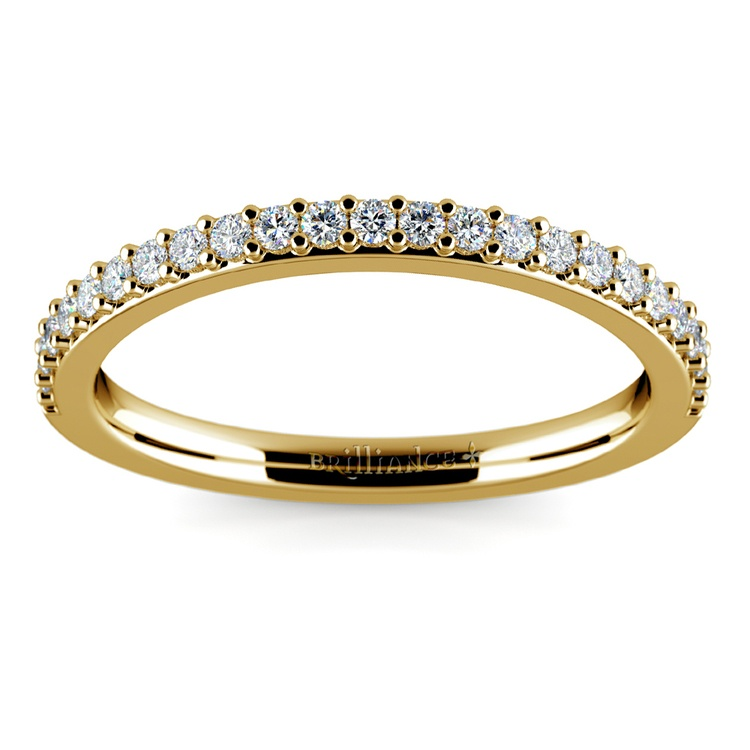Curved Diamond Wedding Ring in Yellow Gold  | 02