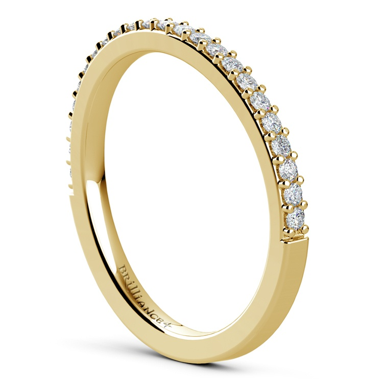 Curved Diamond Wedding Ring in Yellow Gold  | 04