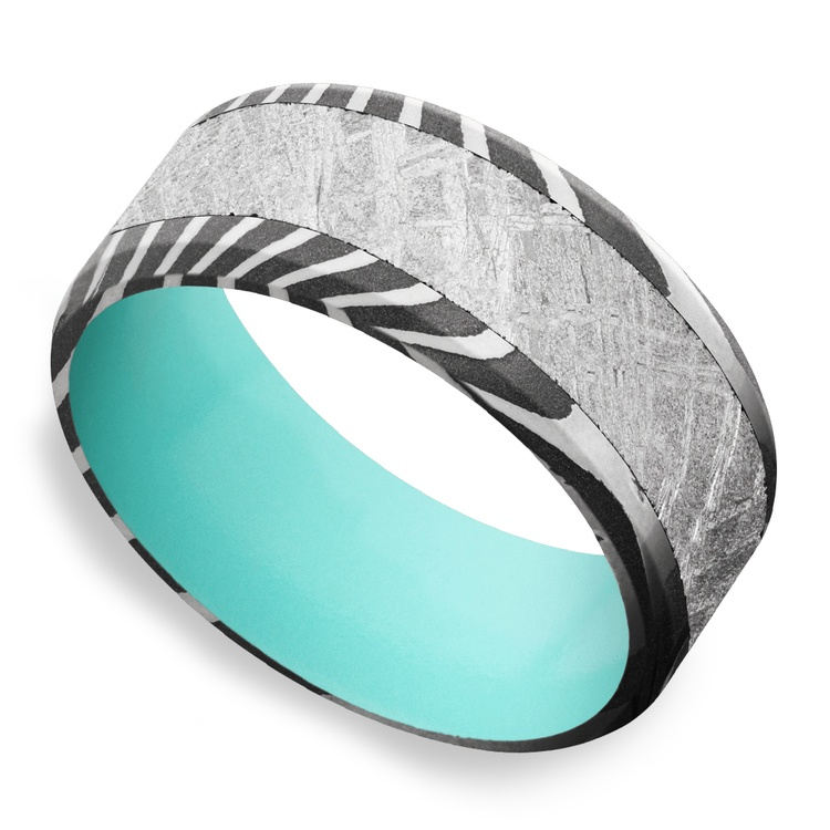 Blue Moon - Damascus & Meteorite Mens Band with Blue Sleeve | 01