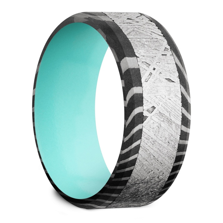 Blue Moon - Damascus & Meteorite Mens Band with Blue Sleeve | 02