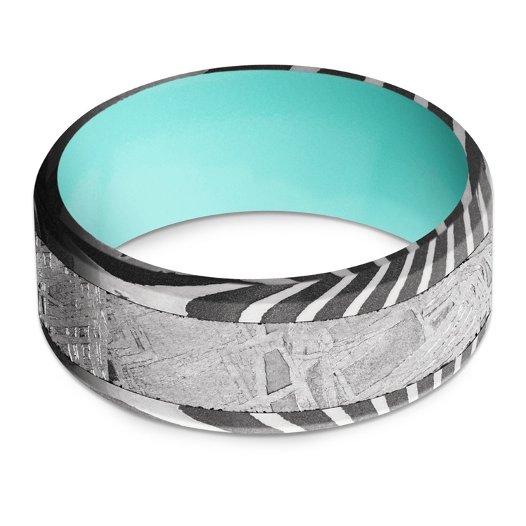 Blue Moon - Damascus & Meteorite Mens Band with Blue Sleeve | 03