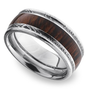 Raw Veneer - Damascus Steel Mens Band with Cocobolo Inlay