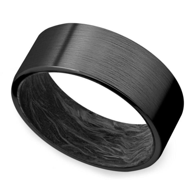 Dark Night - Zirconium & Carbon Fiber Mens Ring | 01