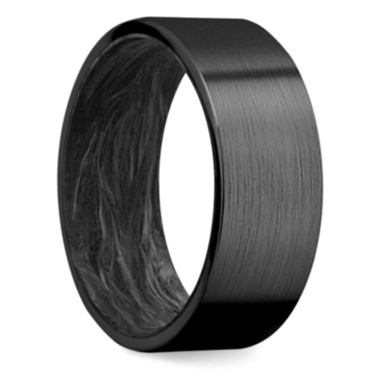 Dark Night - Zirconium & Carbon Fiber Mens Ring | 02