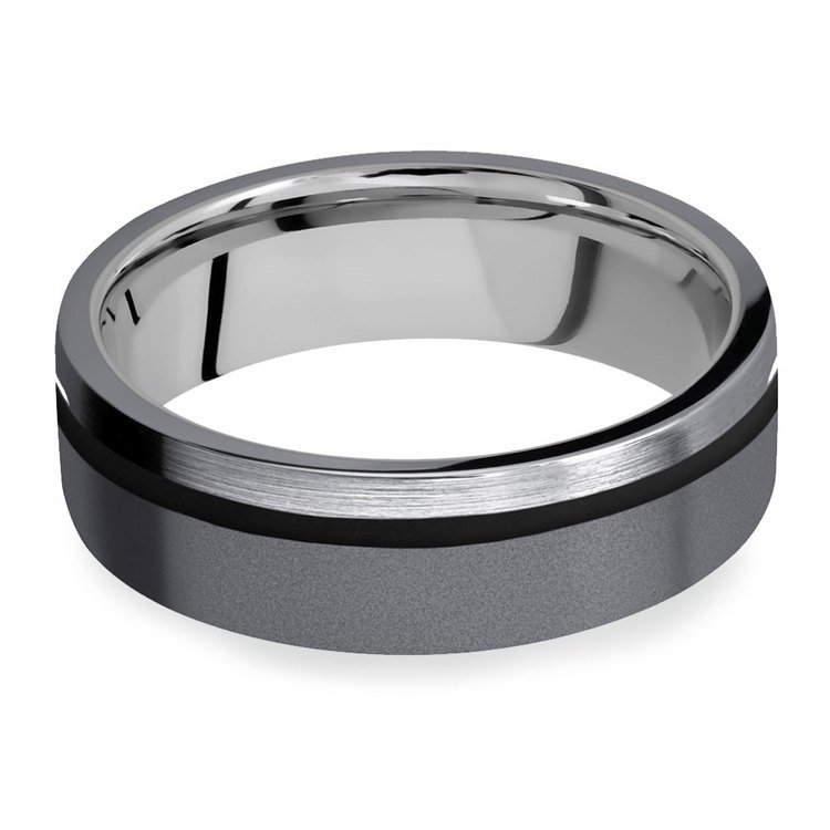 The Debonair - Tantalum Men's Wedding Band with Titanium Sleeve | 03