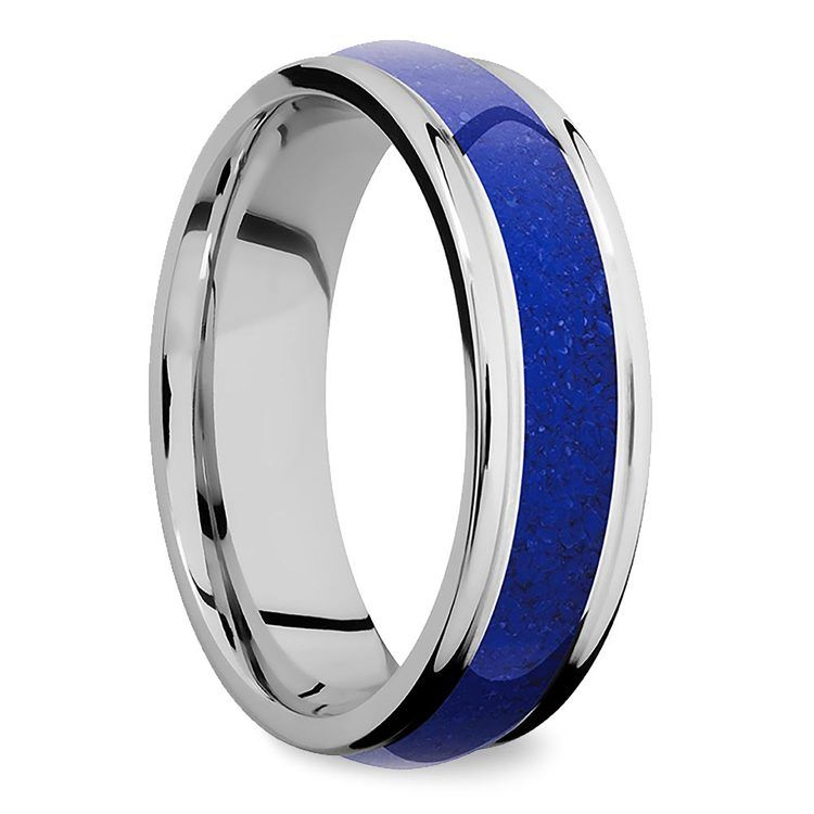 Deep Blue Sea - Domed Edge Cobalt Mens Band with Lapis Inlay | 02