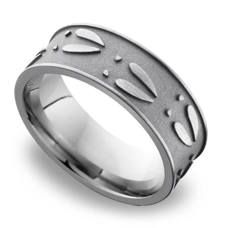 Deer Pattern Men's Wedding Ring in Titanium | 01