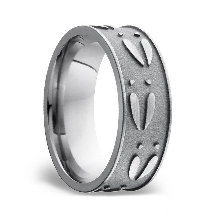 Deer Pattern Men's Wedding Ring in Titanium | 02