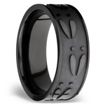 Make Tracks - Bead Finished Zirconium Mens Band with Carved Deer Pattern | Thumbnail 02