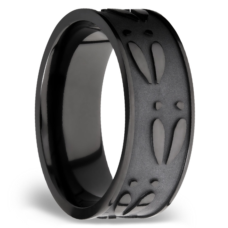 Make Tracks - Bead Finished Zirconium Mens Band with Carved Deer Pattern | 02