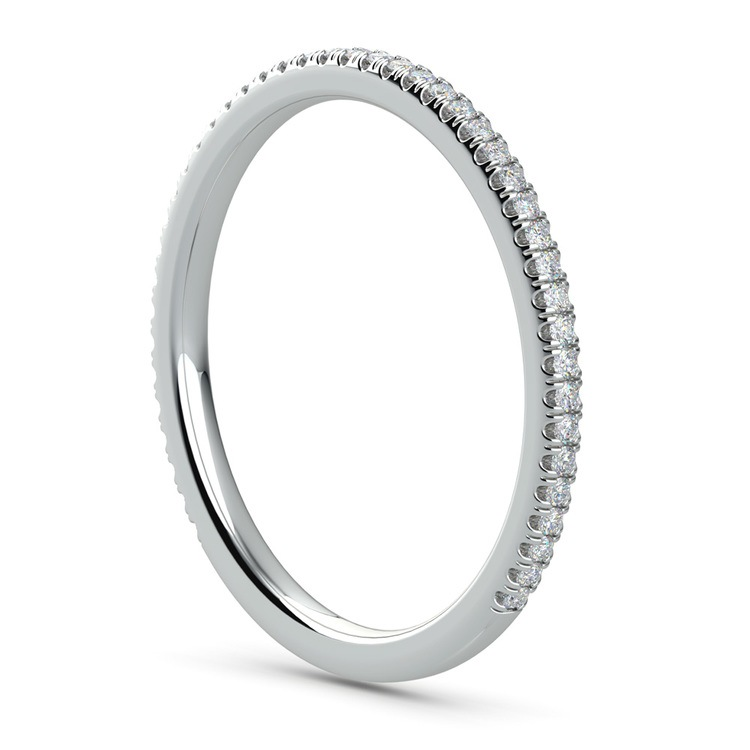 Delicate Thin Diamond Wedding Band In Platinum   04