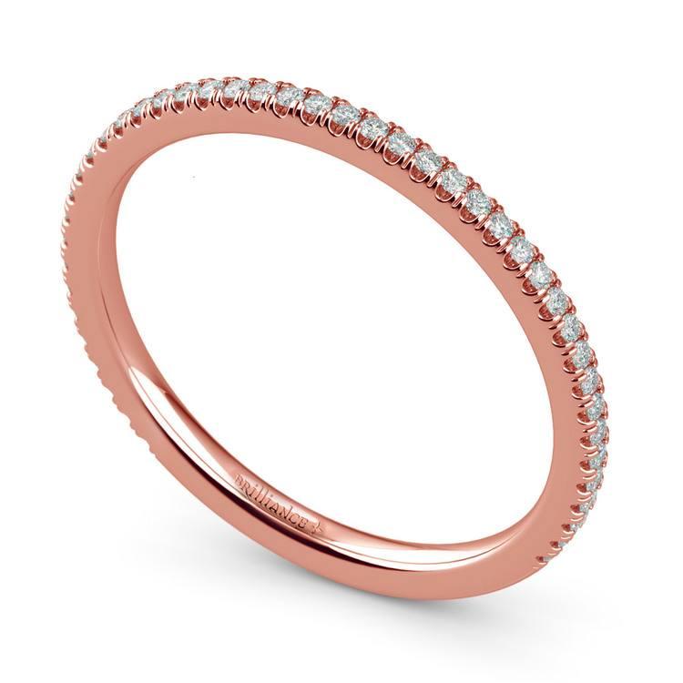 Elegant Thin Diamond Wedding Band In Rose Gold | 01