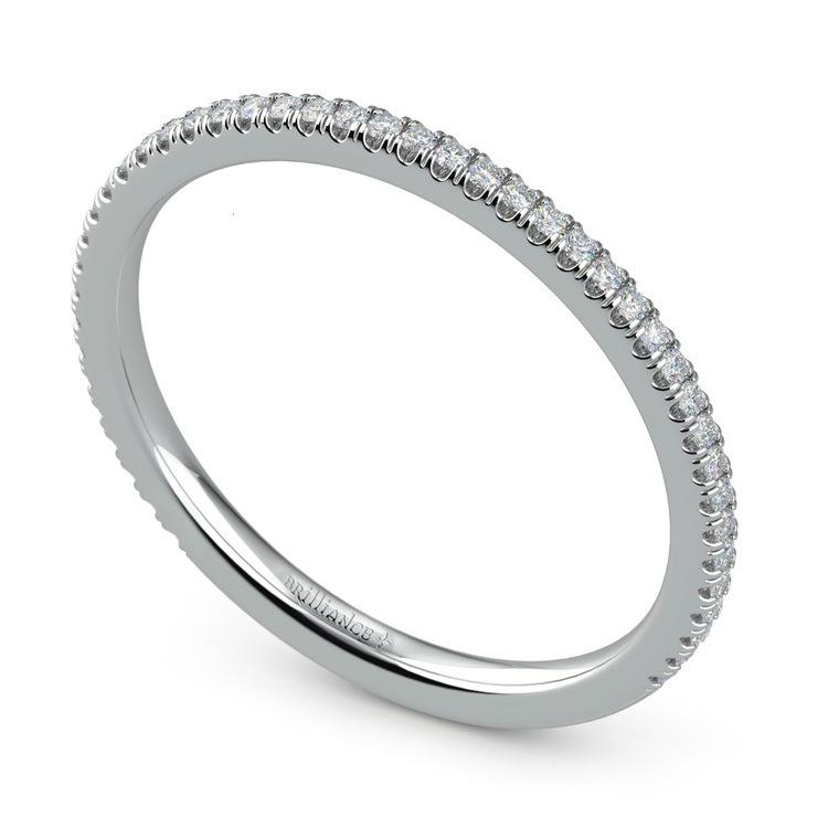 Elegant Thin White Gold Diamond Wedding Band | 01