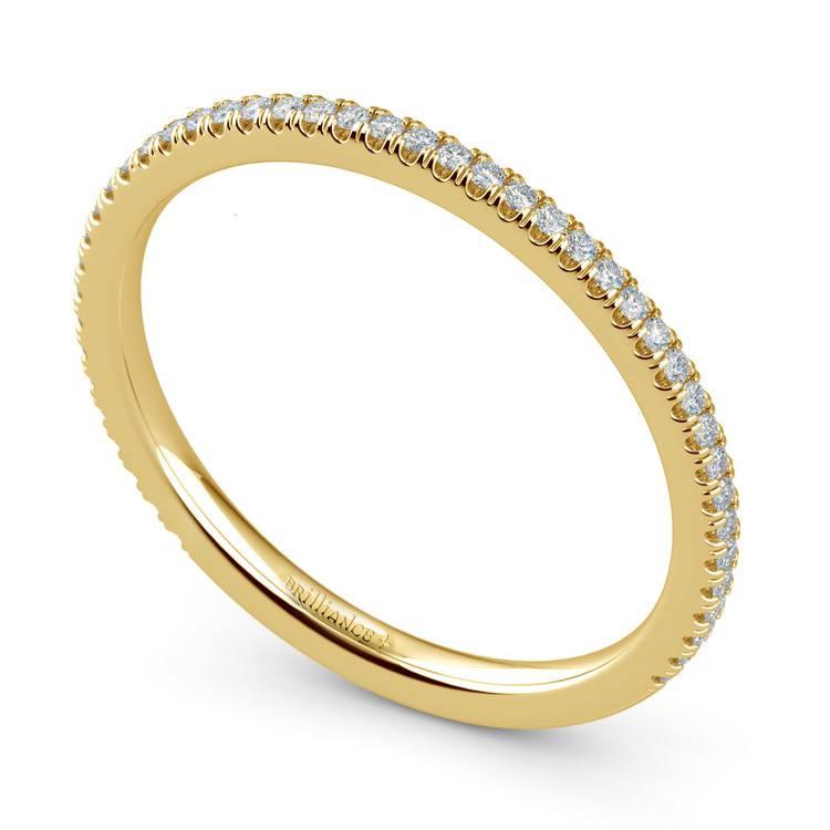 Dainty Thin Diamond Wedding Band In Yellow Gold   01
