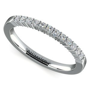 Delicate Shared Prong Diamond Wedding Ring in Platinum