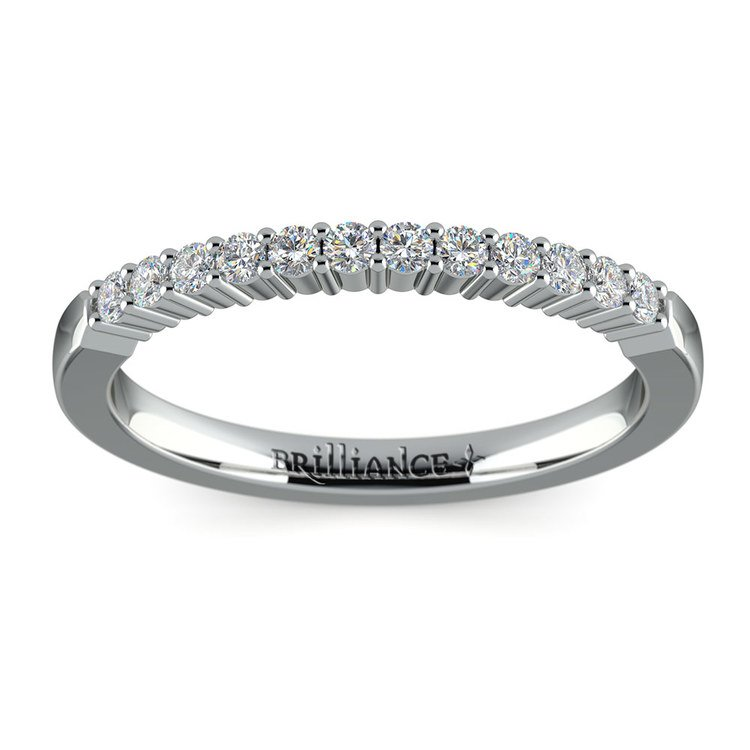 Delicate Shared Prong Diamond Wedding Ring in Platinum   02