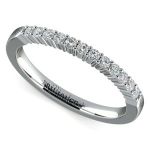 Delicate Shared Prong Diamond Wedding Ring in White Gold