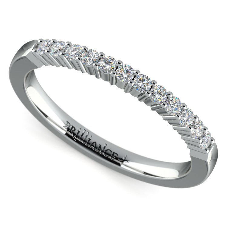 Delicate Shared Prong Diamond Wedding Ring in White Gold   01