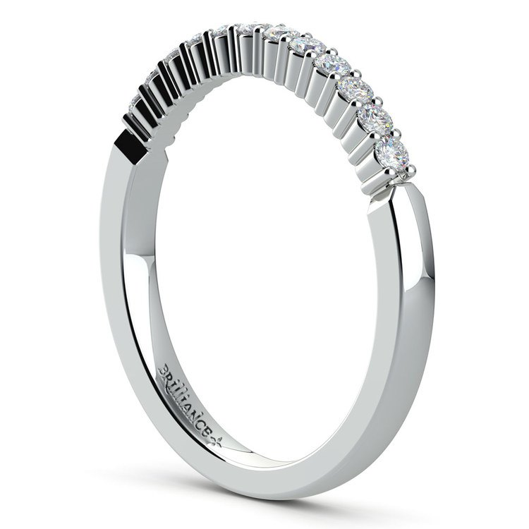 Delicate Shared Prong Diamond Wedding Ring in White Gold   04