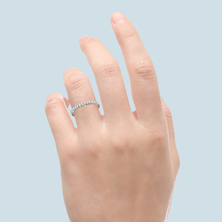 Delicate Shared Prong Diamond Wedding Ring in White Gold | 06