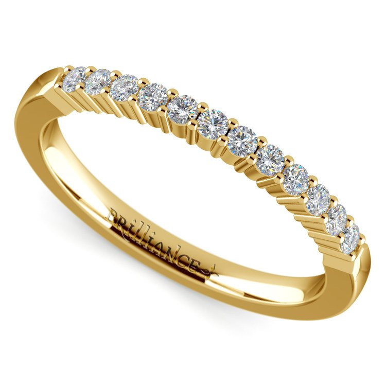 Delicate Shared Prong Diamond Wedding Ring in Yellow Gold | 01