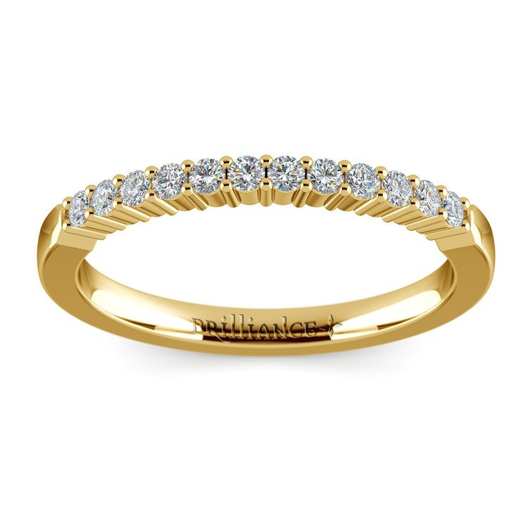 Delicate Shared Prong Diamond Wedding Ring in Yellow Gold | 02