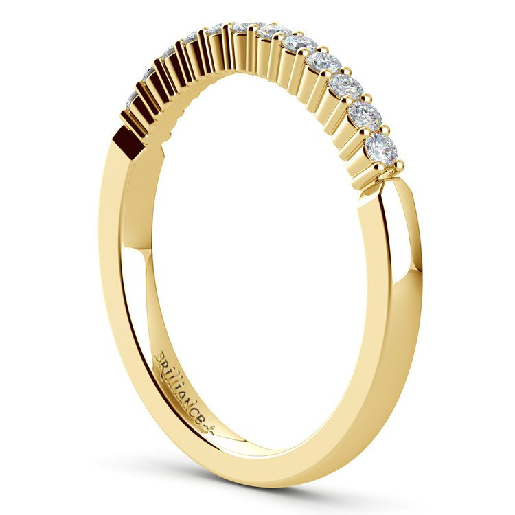 Delicate Shared Prong Diamond Wedding Ring in Yellow Gold | 04