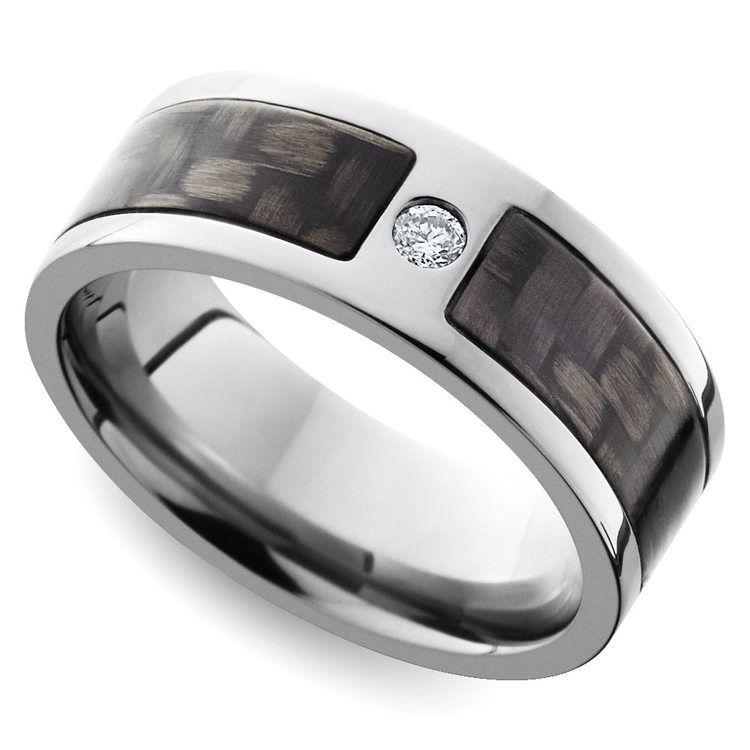 Diamond Accent Carbon Fiber Men's Wedding Ring in Titanium | 01