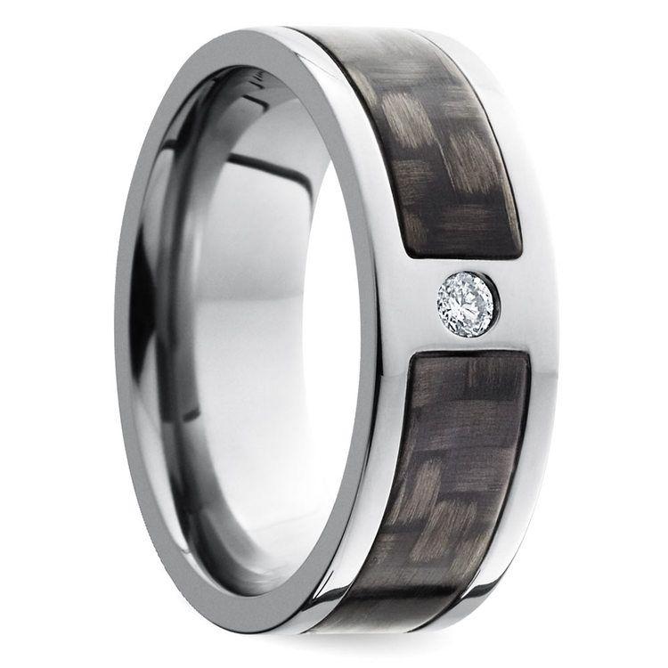 Diamond Accent Carbon Fiber Men's Wedding Ring in Titanium | 02