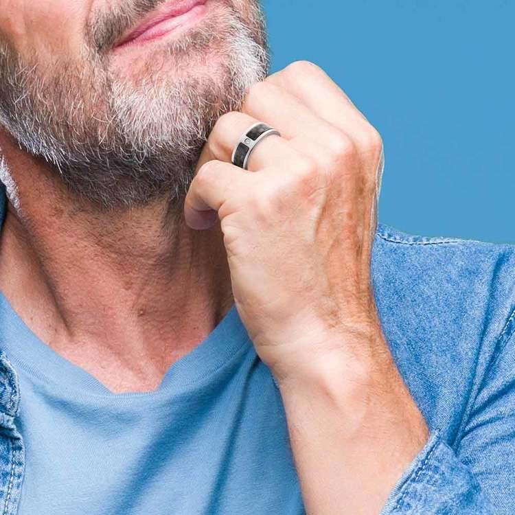 Diamond Accent Carbon Fiber Men's Wedding Ring in Titanium | 04