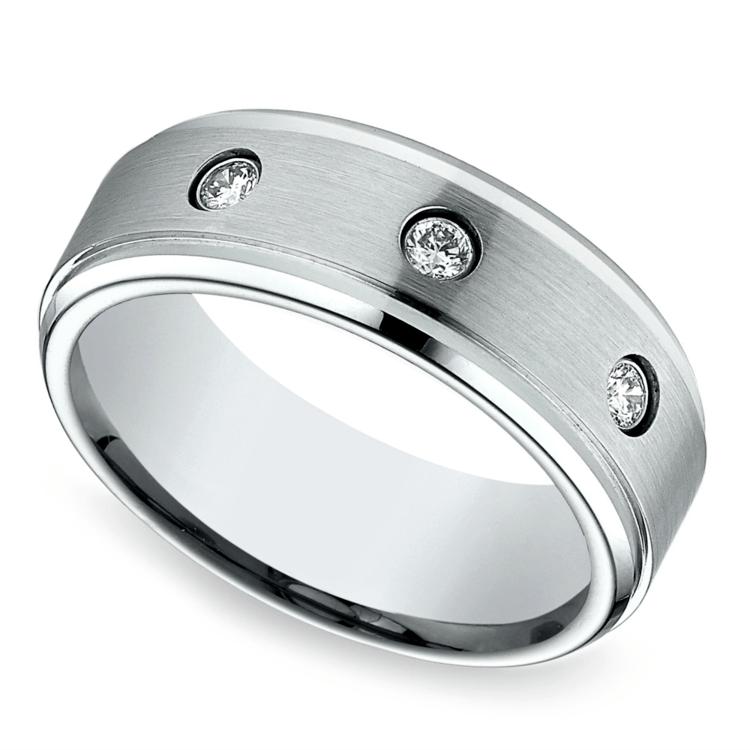 Diamond Bezel Men's Wedding Ring in Cobalt (8mm) | 01
