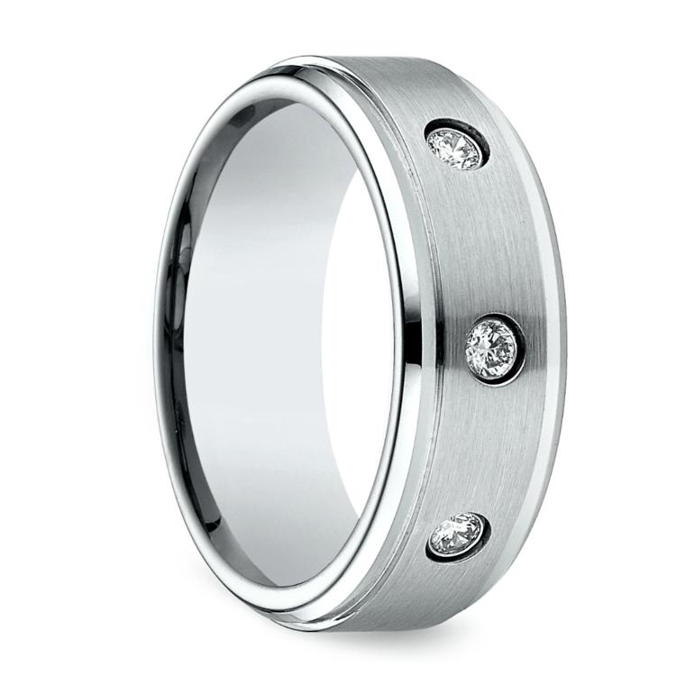 Diamond Bezel Men's Wedding Ring in Cobalt (8mm) | 02