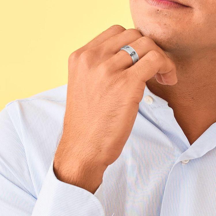 Diamond Bezel Men's Wedding Ring in Cobalt (8mm) | 04